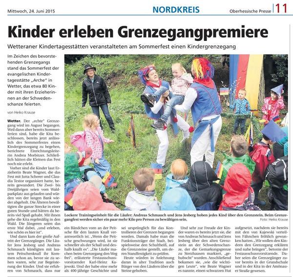 Kinder erleben Grenzegangspremiere
