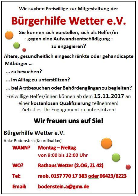 Bürgerhilfe Wetter Plakat