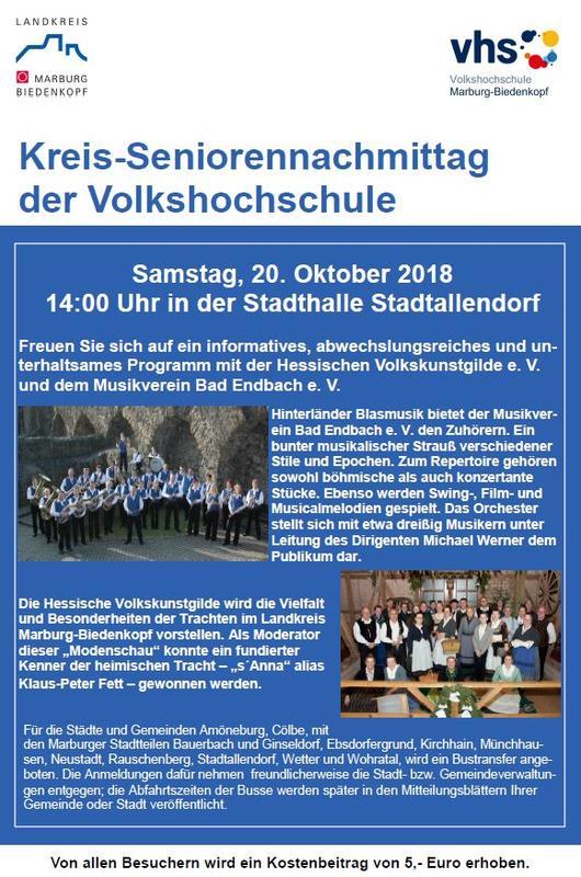 Kreisseniorennachmittag Stadtallendorf 20-10-2018